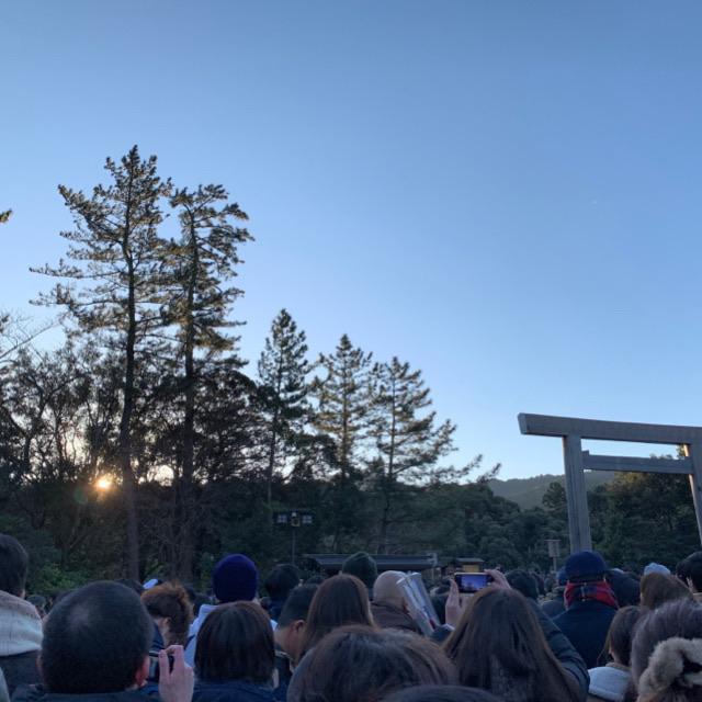 伊勢神宮で日の出